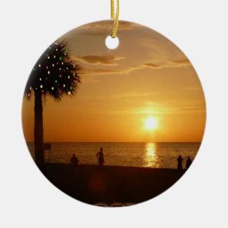 Sunset Christmas Lights Ceramic Ornament