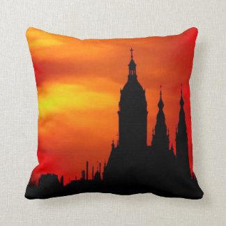 Sunset Church Silhouettes Throw Pillow