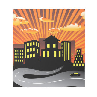 Sunset City and Road Silhouette Notepad