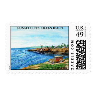 SUNSET CLIFFS, OCEAN BEACH, San Diego, California Postage Stamp