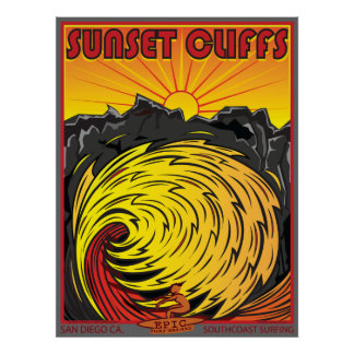 SUNSET CLIFFS SAN DIEGO CALIFORNIA SURFING POSTER