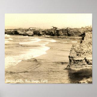 Sunset Cliffs, San Diego, California Vintage Print