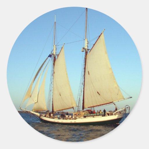 Sunset Clipper Ship Round Sticker