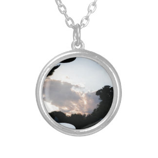 Sunset Cloud With Fractal Trace Silver Plated Necklace