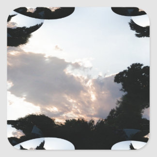 Sunset Cloud With Fractal Trace Square Sticker