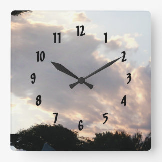 Sunset Cloud With Fractal Trace Square Wall Clock