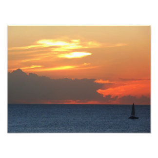 Sunset Clouds and Sailboat Photo Print