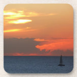 Sunset Clouds and Sailboat Seascape Beverage Coaster