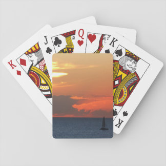 Sunset Clouds and Sailboat Seascape Deck Of Cards