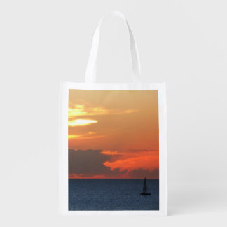 Sunset Clouds and Sailboat Seascape Grocery Bag