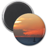 Sunset Clouds and Sailboat Seascape Magnet