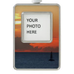 Sunset Clouds and Sailboat Seascape Ornament