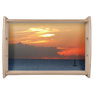 Sunset Clouds and Sailboat Seascape Serving Tray