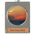 Sunset Clouds and Sailboat Seascape Silver Plated Banner Ornament