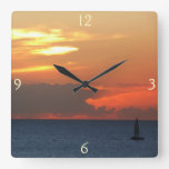 Sunset Clouds and Sailboat Seascape Square Wall Clock