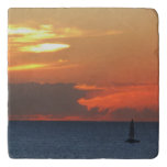 Sunset Clouds and Sailboat Seascape Trivet