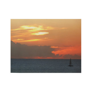 Sunset Clouds and Sailboat Seascape Wood Poster