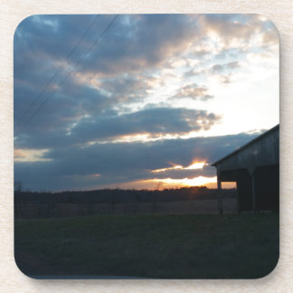 sunset clouds/barn coaster