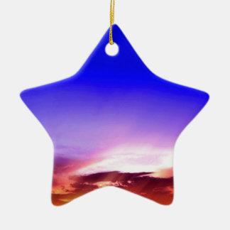 Sunset Clouds & Blue Sky Ceramic Ornament