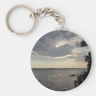 Sunset Clouds Cayuga Lake NY Basic Round Button Keychain