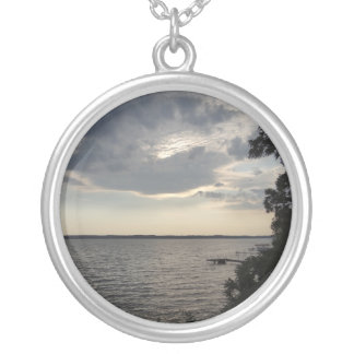 Sunset Clouds Cayuga Lake NY Silver Plated Necklace