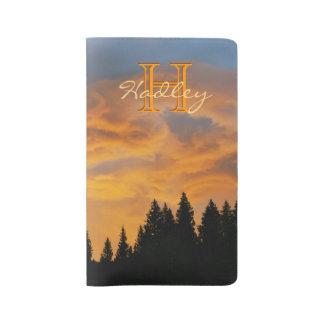 Sunset Clouds Custom Name Monogram Large Moleskine Notebook