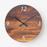 Sunset Clouds I Colorful Abstract Sky Photography Round Clock