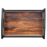 Sunset Clouds I Colorful Abstract Sky Photography Serving Tray