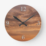 Sunset Clouds IV Pastel Abstract Nature Photograph Round Clock