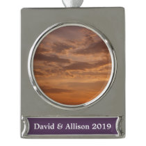 Sunset Clouds IV Pastel Abstract Nature Photograph Silver Plated Banner Ornament