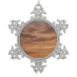Sunset Clouds IV Pastel Abstract Nature Photograph Snowflake Pewter Christmas Ornament
