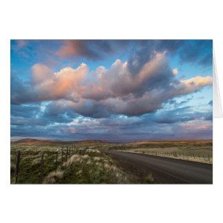 Sunset Clouds Over Gravel Zumwalt Prairie Road Greeting Card