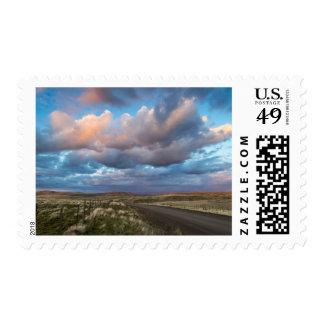 Sunset Clouds Over Gravel Zumwalt Prairie Road Postage Stamps