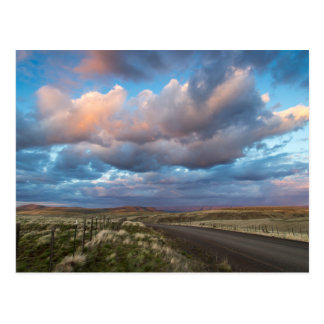 Sunset Clouds Over Gravel Zumwalt Prairie Road Postcard