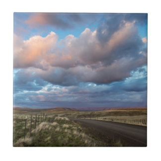 Sunset Clouds Over Gravel Zumwalt Prairie Road Tile