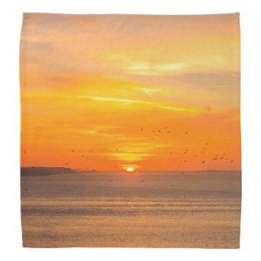 Beach Themed Sunset  Coast with Orange Sun and Birds Bandana