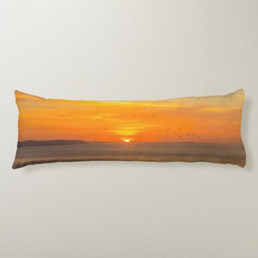 Sunset Coast with Orange Sun and Birds Body Pillow