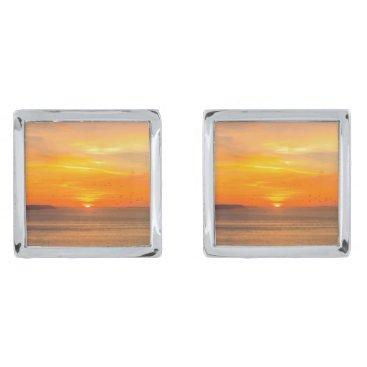 Sunset  Coast with Orange Sun and Birds Cufflinks