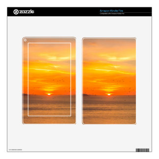 Sunset Coast with Orange Sun and Birds Decal For Kindle Fire