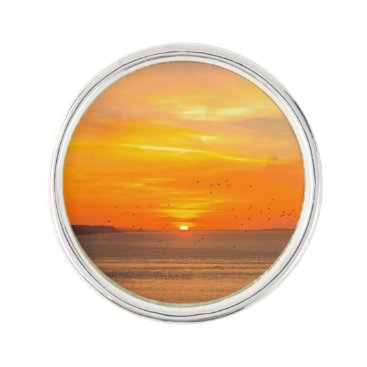 Beach Themed Sunset  Coast with Orange Sun and Birds Lapel Pin