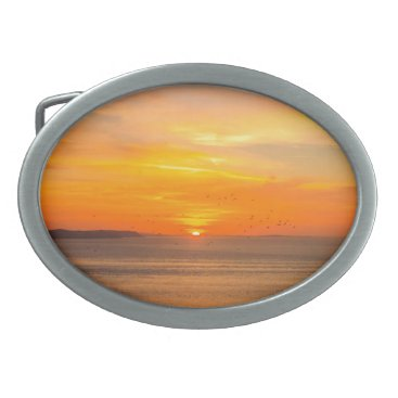 Beach Themed Sunset Coast with Orange Sun and Birds Oval Belt Buckle
