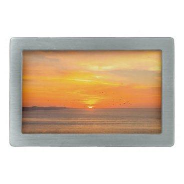 Beach Themed Sunset Coast with Orange Sun and Birds Rectangular Belt Buckle
