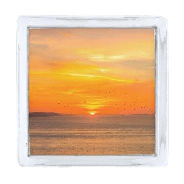 Beach Themed Sunset  Coast with Orange Sun and Birds Silver Finish Lapel Pin