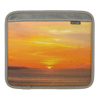Sunset Coast with Orange Sun and Birds Sleeve For iPads