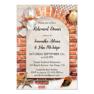 Sunset Coastal Beach Rehearsal Dinner Invitation