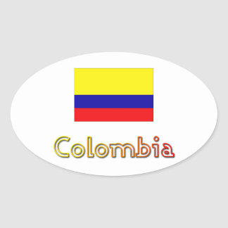 Sunset Colombia flag oval stickers