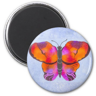 Sunset Colored Butterfly Painting 2 Inch Round Magnet