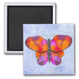 Sunset Colored Butterfly Painting 2 Inch Square Magnet