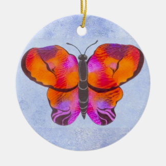 Sunset Colored Butterfly Painting Ceramic Ornament