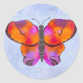 Sunset Colored Butterfly Painting Classic Round Sticker